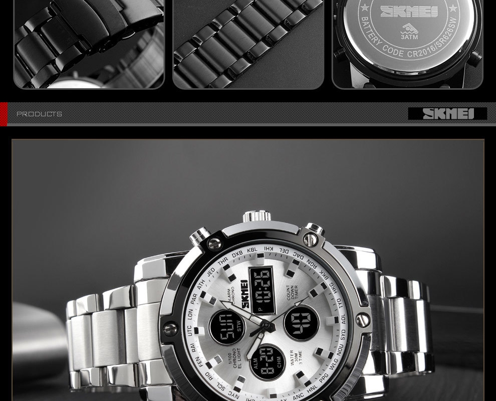 SKMEI Digital Quartz Watch Men Outdoor Sports Watch Countdown Full Steel Strap Wristwatch Clock silver 25cm 15