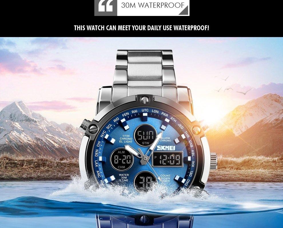 SKMEI Digital Quartz Watch Men Outdoor Sports Watch Countdown Full Steel Strap Wristwatch Clock silver 25cm 12