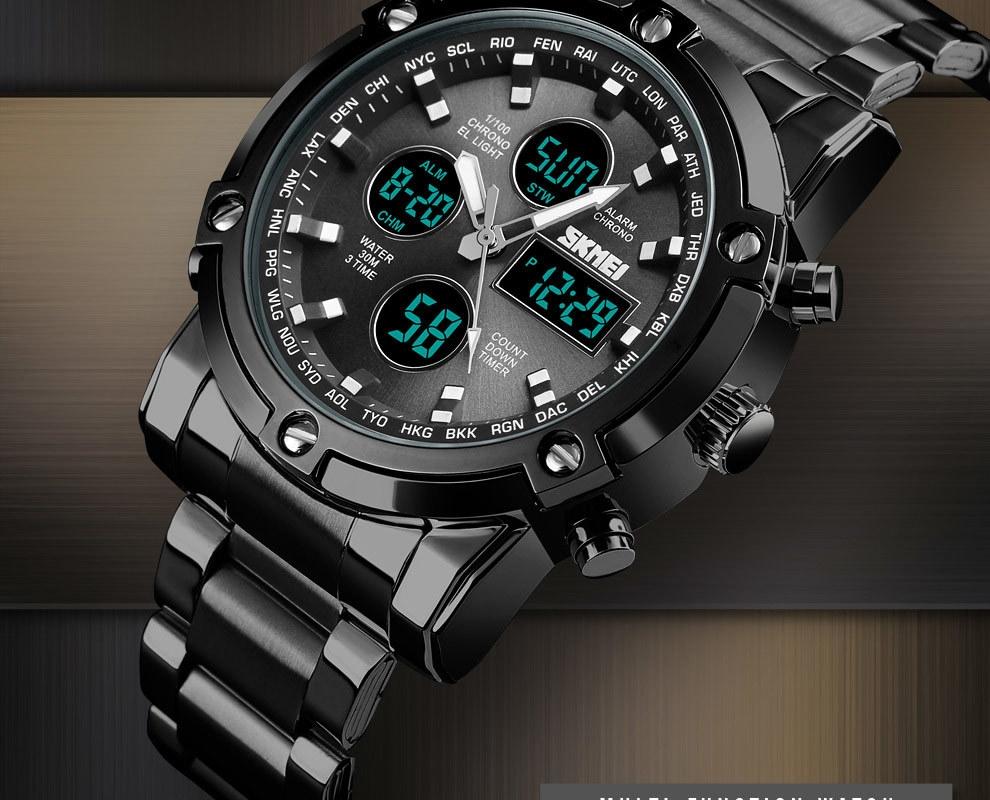 SKMEI Digital Quartz Watch Men Outdoor Sports Watch Countdown Full Steel Strap Wristwatch Clock silver 25cm 4