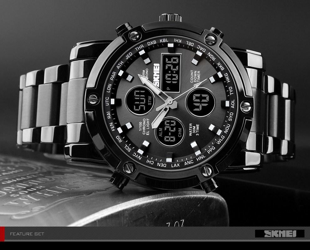 SKMEI Digital Quartz Watch Men Outdoor Sports Watch Countdown Full Steel Strap Wristwatch Clock silver 25cm 9