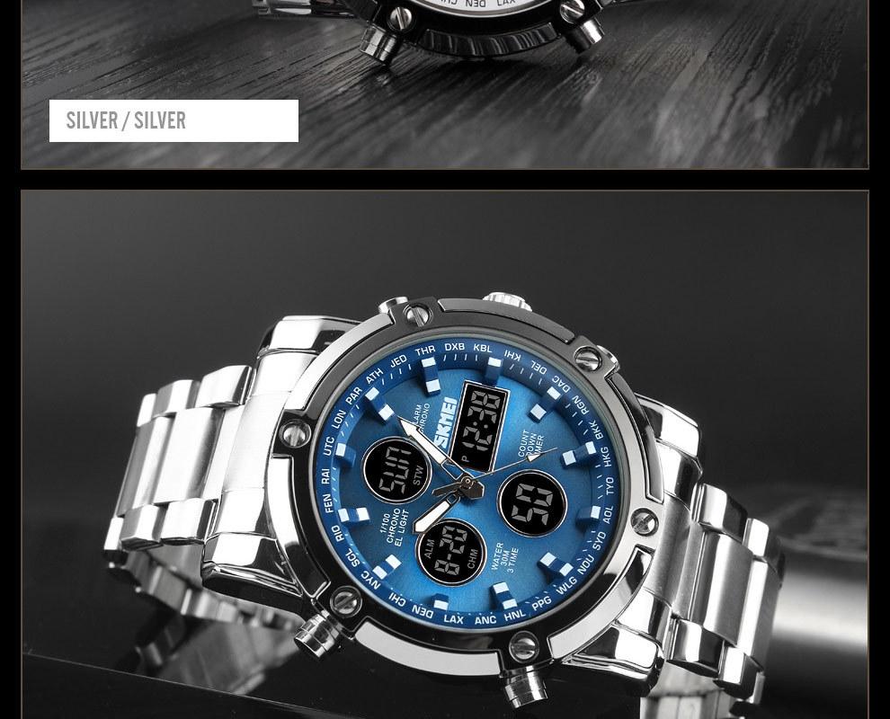 SKMEI Digital Quartz Watch Men Outdoor Sports Watch Countdown Full Steel Strap Wristwatch Clock silver 25cm 16