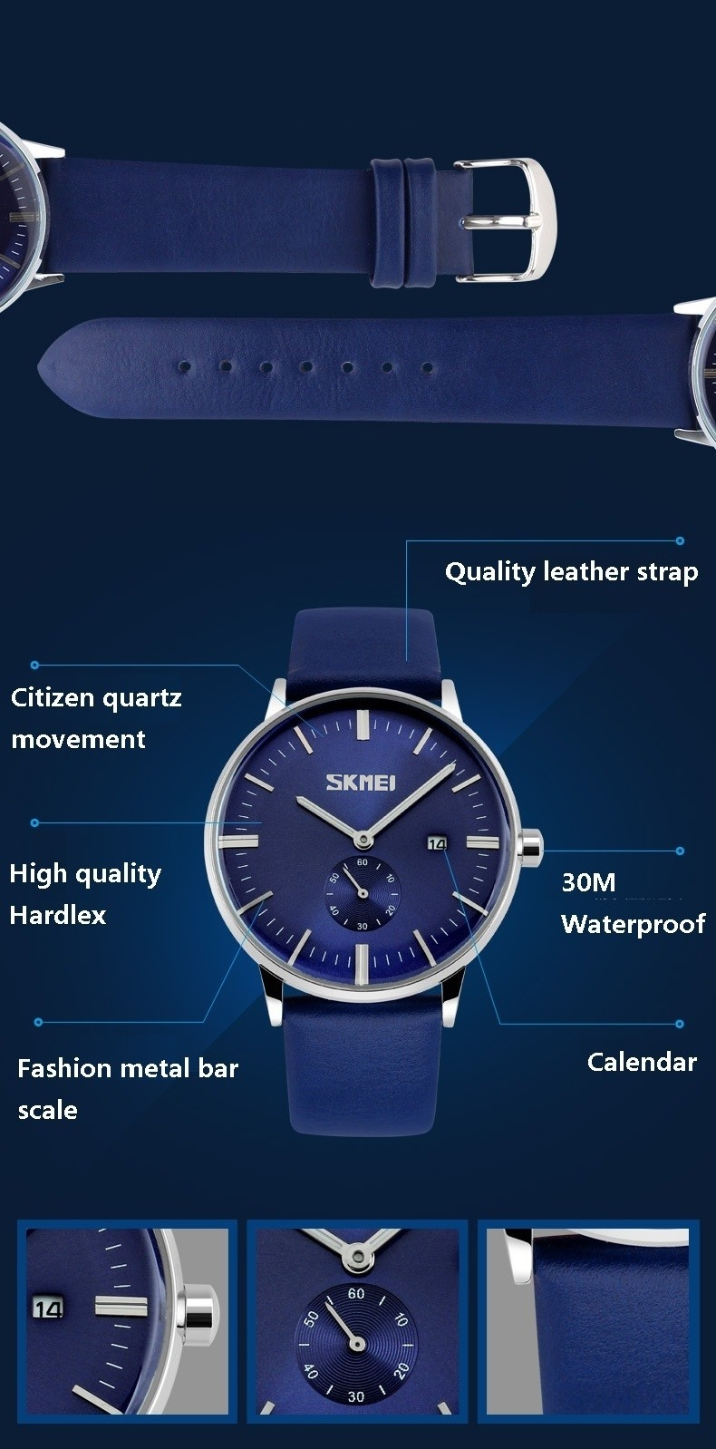 SKMEI Mens Watches Quartz Watch Casual Leather Men Wrist Watch 30M Waterproof Date Male Clock blue 25cm 5