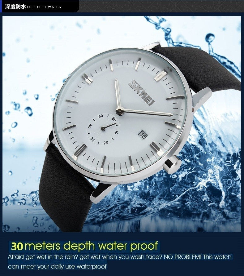 SKMEI Mens Watches Quartz Watch Casual Leather Men Wrist Watch 30M Waterproof Date Male Clock blue 25cm 6
