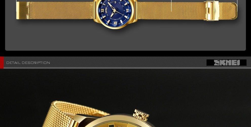 SKMEI Fashion Quartz Men Luxury Business Watch Stainless Steel Waterproof Wristwatches Male Clock gold 25cm 15