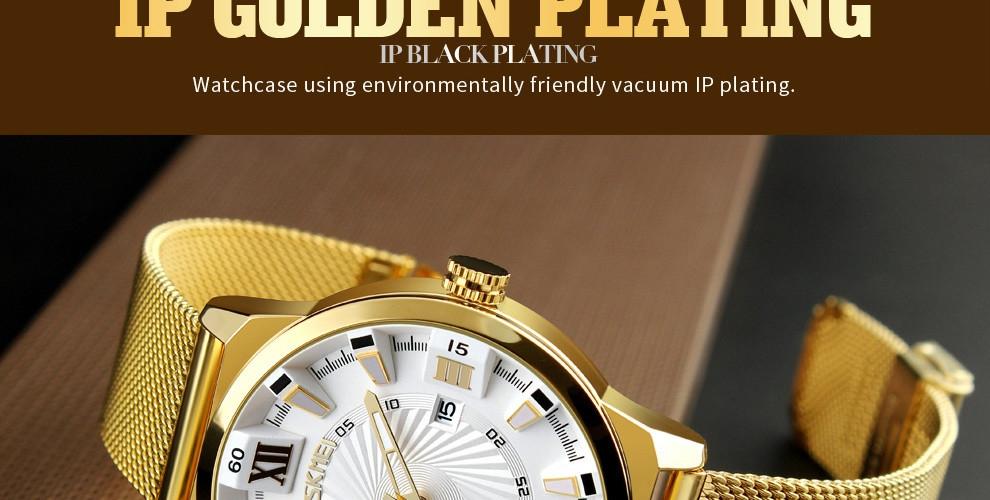 SKMEI Fashion Quartz Men Luxury Business Watch Stainless Steel Waterproof Wristwatches Male Clock gold 25cm 11