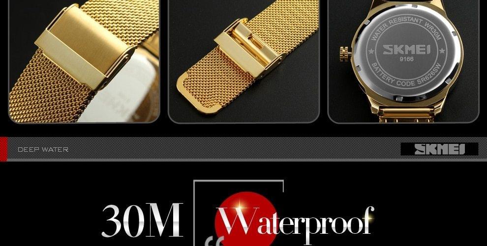 SKMEI Fashion Quartz Men Luxury Business Watch Stainless Steel Waterproof Wristwatches Male Clock gold 25cm 17
