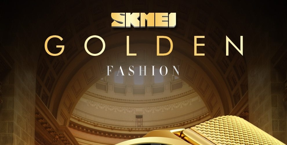 SKMEI Fashion Quartz Men Luxury Business Watch Stainless Steel Waterproof Wristwatches Male Clock gold 25cm 2
