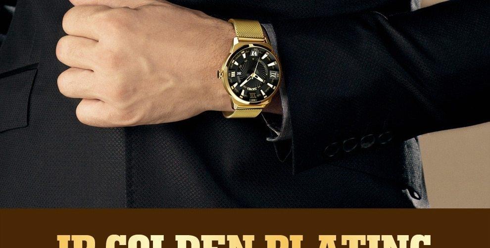 SKMEI Fashion Quartz Men Luxury Business Watch Stainless Steel Waterproof Wristwatches Male Clock gold 25cm 10