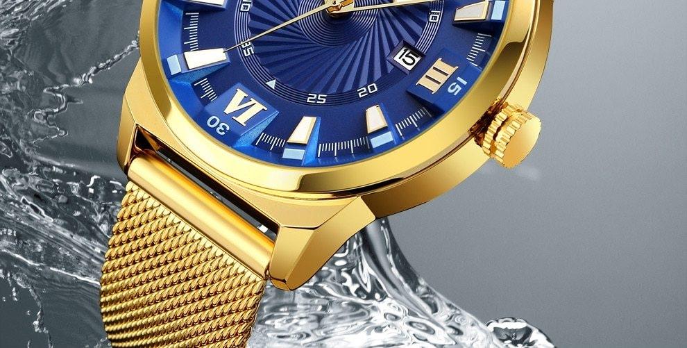 SKMEI Fashion Quartz Men Luxury Business Watch Stainless Steel Waterproof Wristwatches Male Clock gold 25cm 19