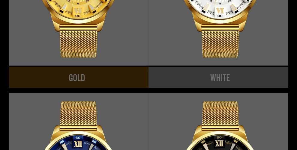 SKMEI Fashion Quartz Men Luxury Business Watch Stainless Steel Waterproof Wristwatches Male Clock gold 25cm 7