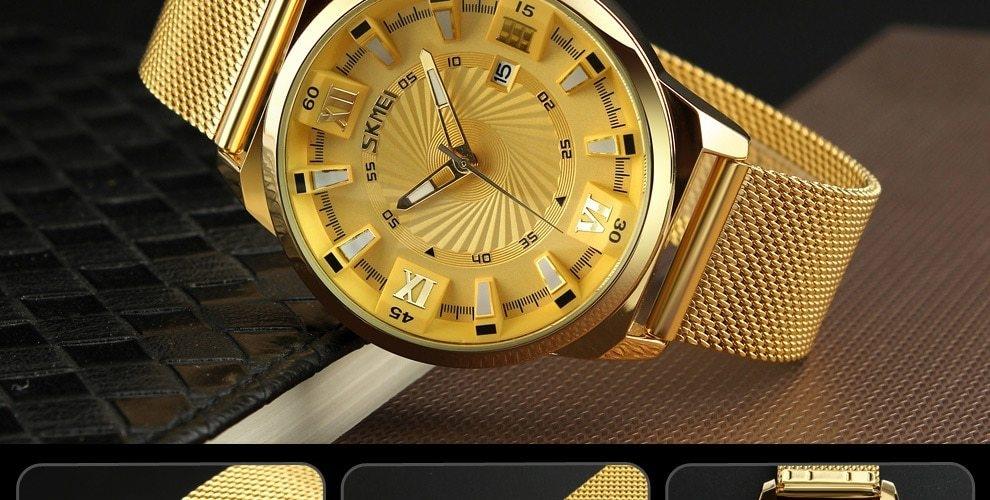 SKMEI Fashion Quartz Men Luxury Business Watch Stainless Steel Waterproof Wristwatches Male Clock gold 25cm 16