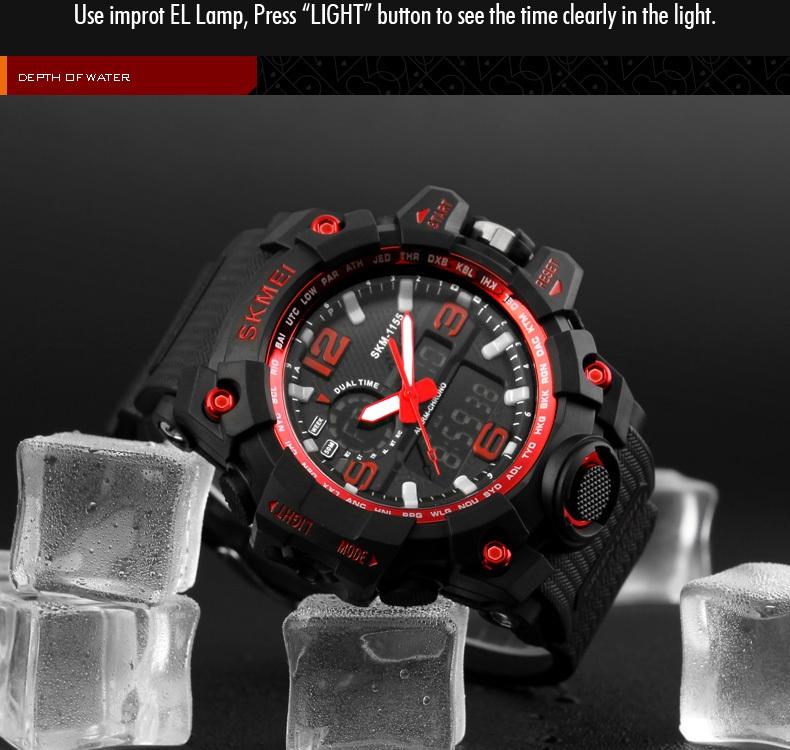 SKMEI Sports Watches LED Military Waterproof Wristwatch Sport Men's Quartz Analog Digital Watch gold 28cm 8
