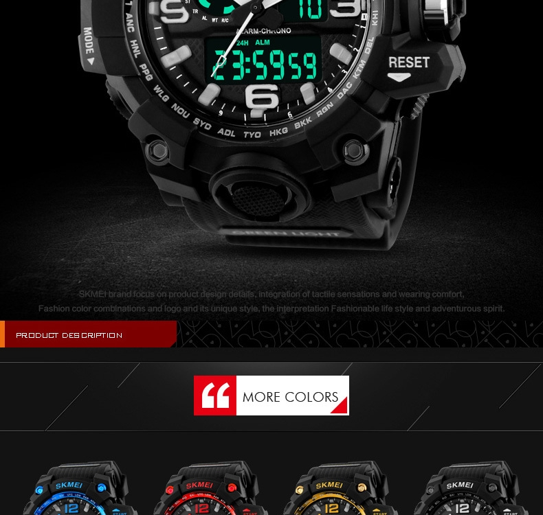 SKMEI Sports Watches LED Military Waterproof Wristwatch Sport Men's Quartz Analog Digital Watch gold 28cm 2