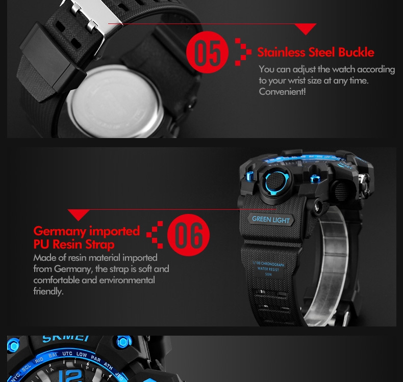 SKMEI Sports Watches LED Military Waterproof Wristwatch Sport Men's Quartz Analog Digital Watch gold 28cm 13