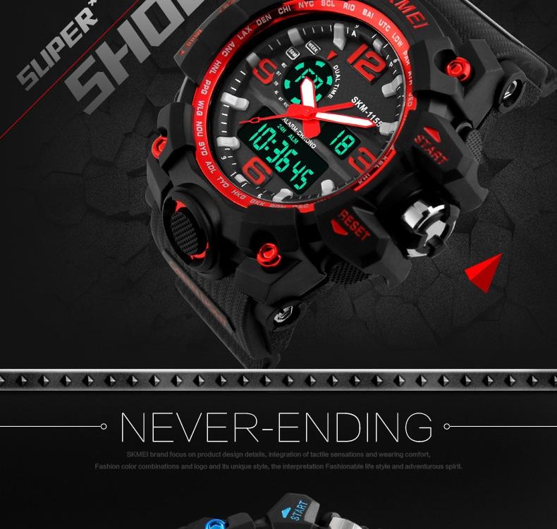 SKMEI Sports Watches LED Military Waterproof Wristwatch Sport Men's Quartz Analog Digital Watch gold 28cm 4