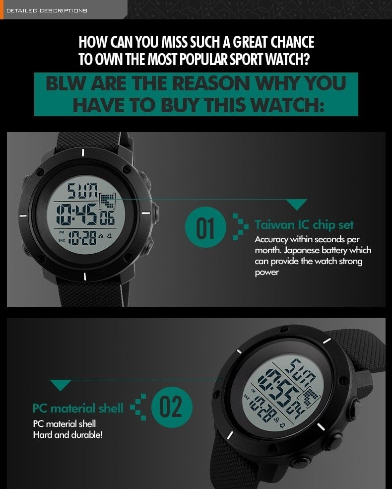 Fashion Brand Sports Military Watch Big Dial 2 Time Zone Mens Watches Digital Led Watch Fashion Casual Electronics Wrist Watches Digital Watches Men's Watches