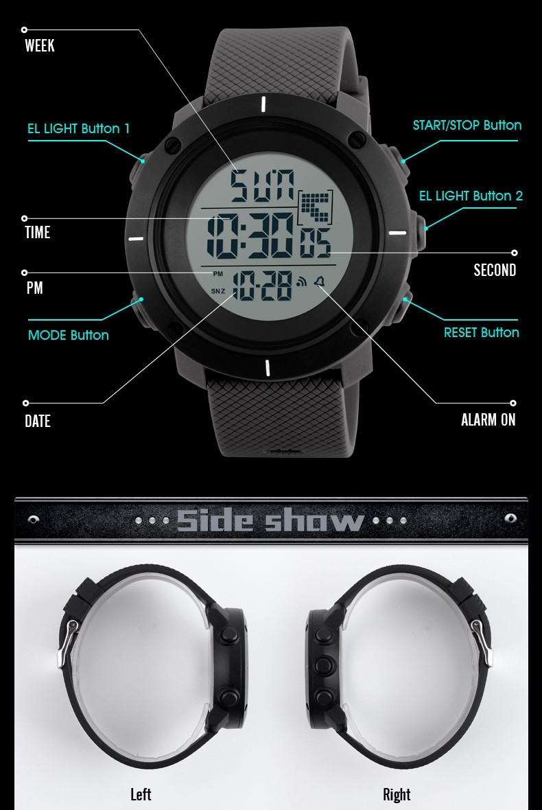 Watches Fashion Brand Sports Military Watch Big Dial 2 Time Zone Mens Watches Digital Led Watch Fashion Casual Electronics Wrist Watches Digital Watches