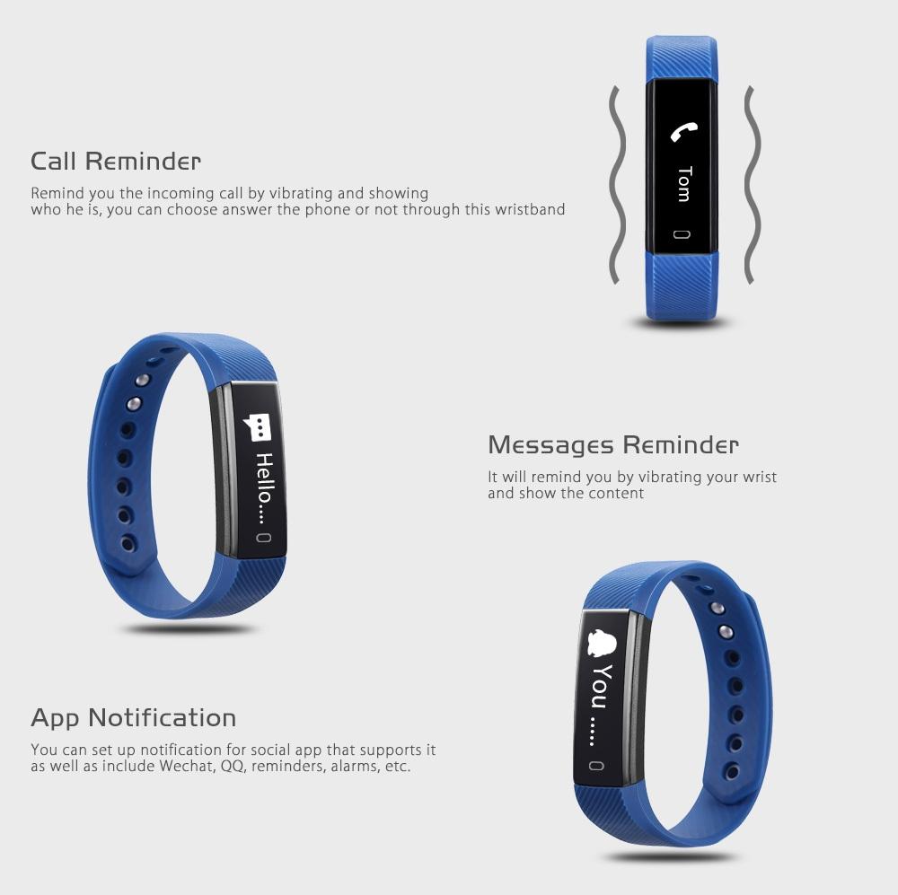 ID115 Smart Wristband Activity Tracker Sleep Monitor USB Rechargeable Interface