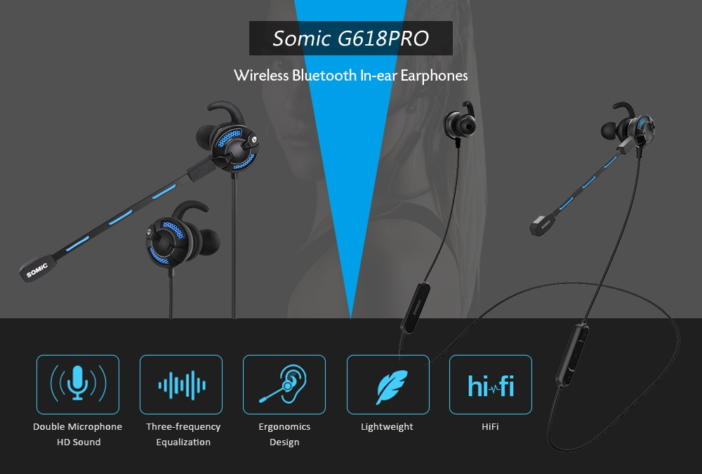 Somic G618PRO Wireless Bluetooth In-ear Gaming Headphones Stereo Sports Earphone with Double Mics