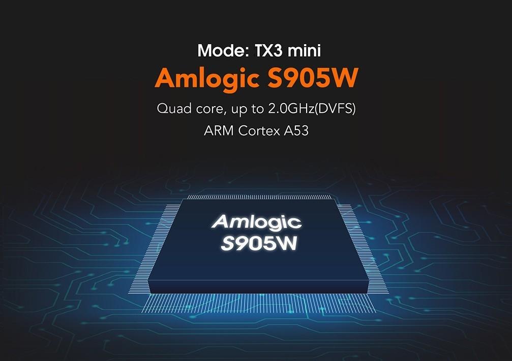 TX3 Mini TV Box S905W 2.4GHz WiFi Android 7.1 2GB RAM + 16GB ROM Support 4K