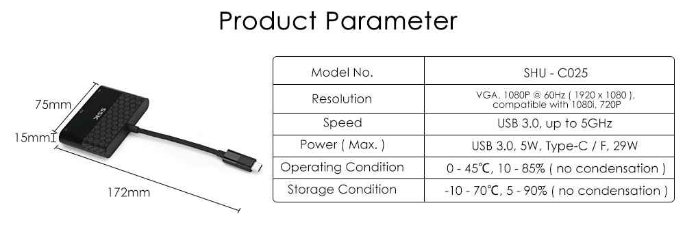 SSK SHU - C025 Type-C to VGA Adapter Multiport USB 3.0 Hub Charging Video Converter