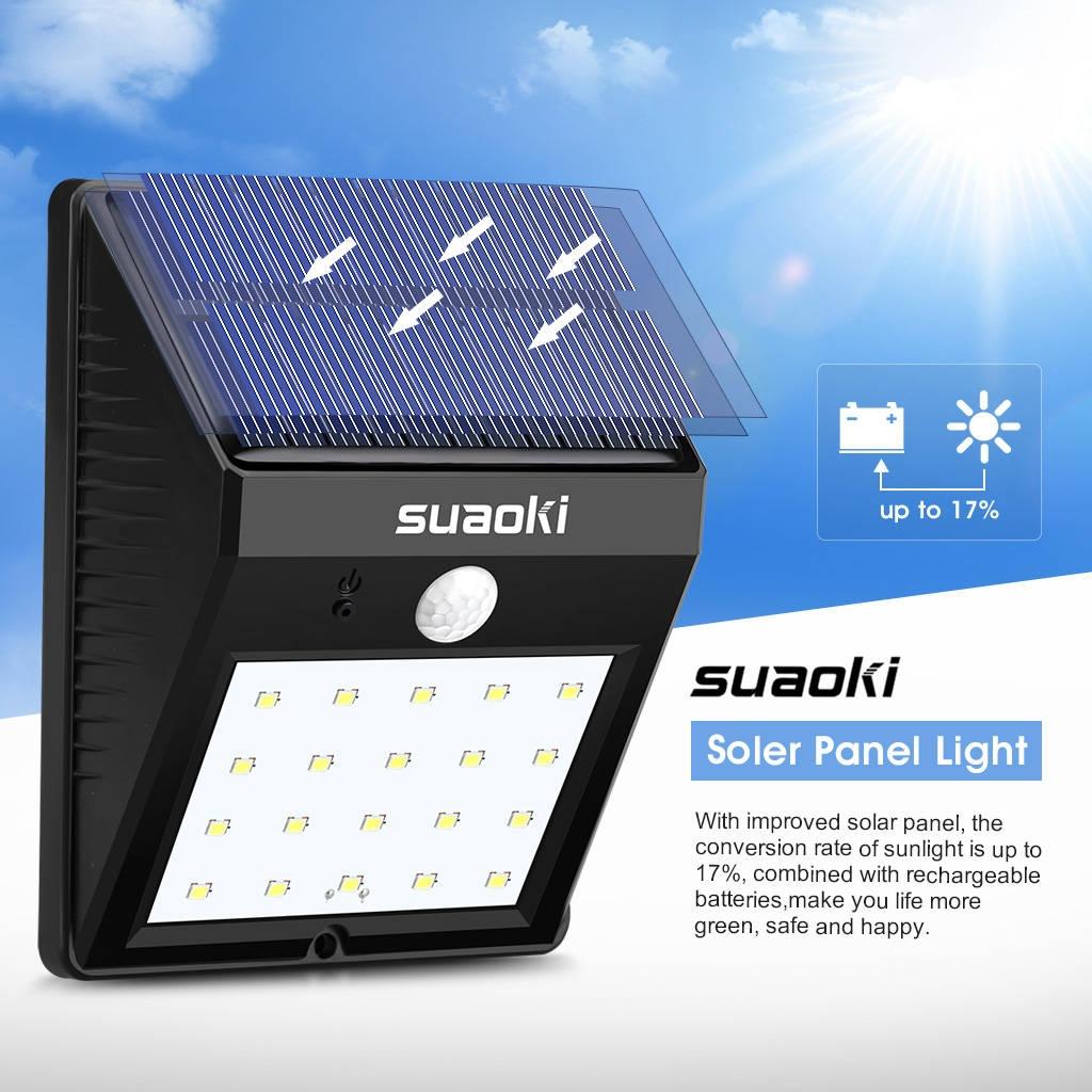 Buy Suaoki 20 Led Triangle Light Solar Panel Black Best Price Wiring Up A Emergency Image