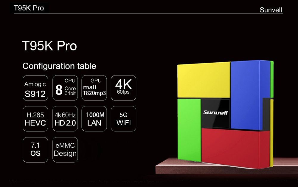 Sunvell T95K Pro Android 7.1 TV Box Amlogic S912 Octa-core CPU Support Bluetooth 4.0 Dual Band WiFi