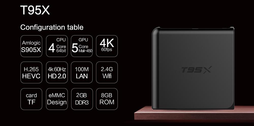 Sunvell T95X Amlogic S905X TV Box Quad Core 4K x 2K H.265 2.4G WiFi 2G DDR3 RAM 8G eMMC ROM