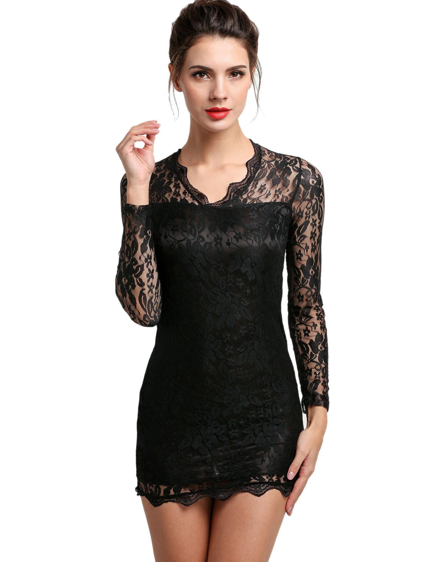 sexy vneck lowcut long sleeve evening party cocktail