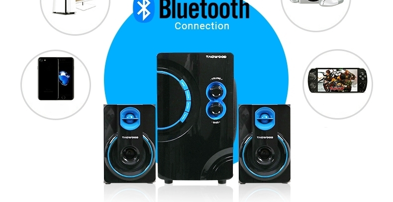 TAGWOOD MP-2176 Home Theater Sound System Multimedia 2.1  Bluetooth Speaker Subwoofer Black PMPO: 5500W MP-2176 4