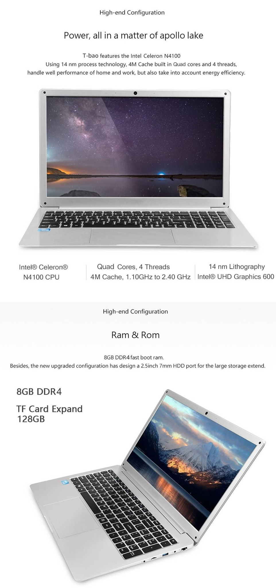T-bao X8 Plus Laptop 15.6 inch Windows 10 English Version Intel Celeron N4100 Quad Core 1.1GHz 8GB RAM DDR4 128GB SSD HDMI 0.3MP Front Camera