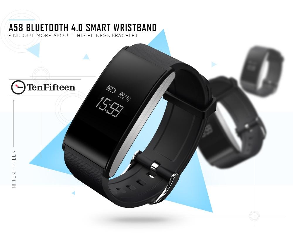 TenFifteen A58 Bluetooth 4.0 Smart Bracelet Blood Oxygen Pressure Measure Fatigue Heart Rate Monitor