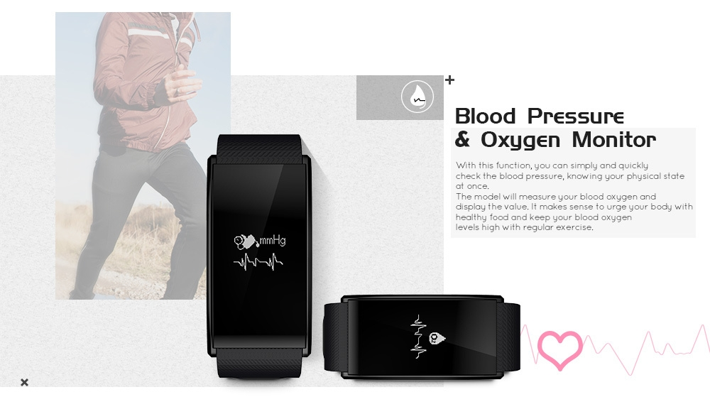TenFifteen A58 Bluetooth 4.0 Smart Bracelet Blood Oxygen Pressure Measure Fatigue Heart Rate Monitor