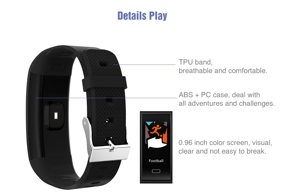 TenFifteen TF6 Smart Bracelet 0.96 inch Color Screen Heart Rate / Blood Pressure / Sleep Monitor Pedometer Sedentary Reminder Anti-lost