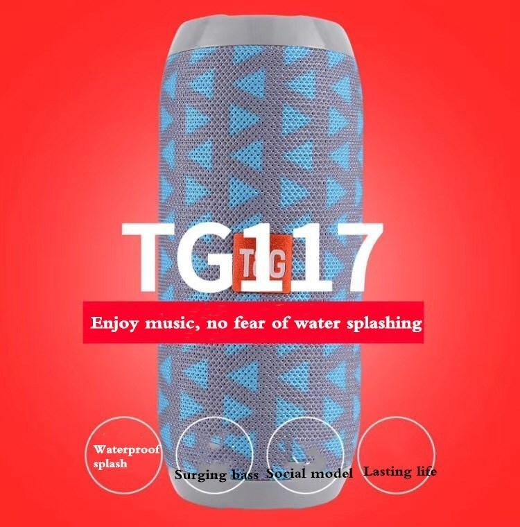 T&G TG117 Super Bass SplashProof subwoofer Wireless Bluetooth Speaker Bluetooth Accessories black one size 1