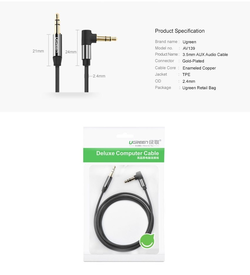 Buy Ugreen 35 Mm Audio Cable 90 Degree Right Angle For Car 3 5 Wiring 2 Image