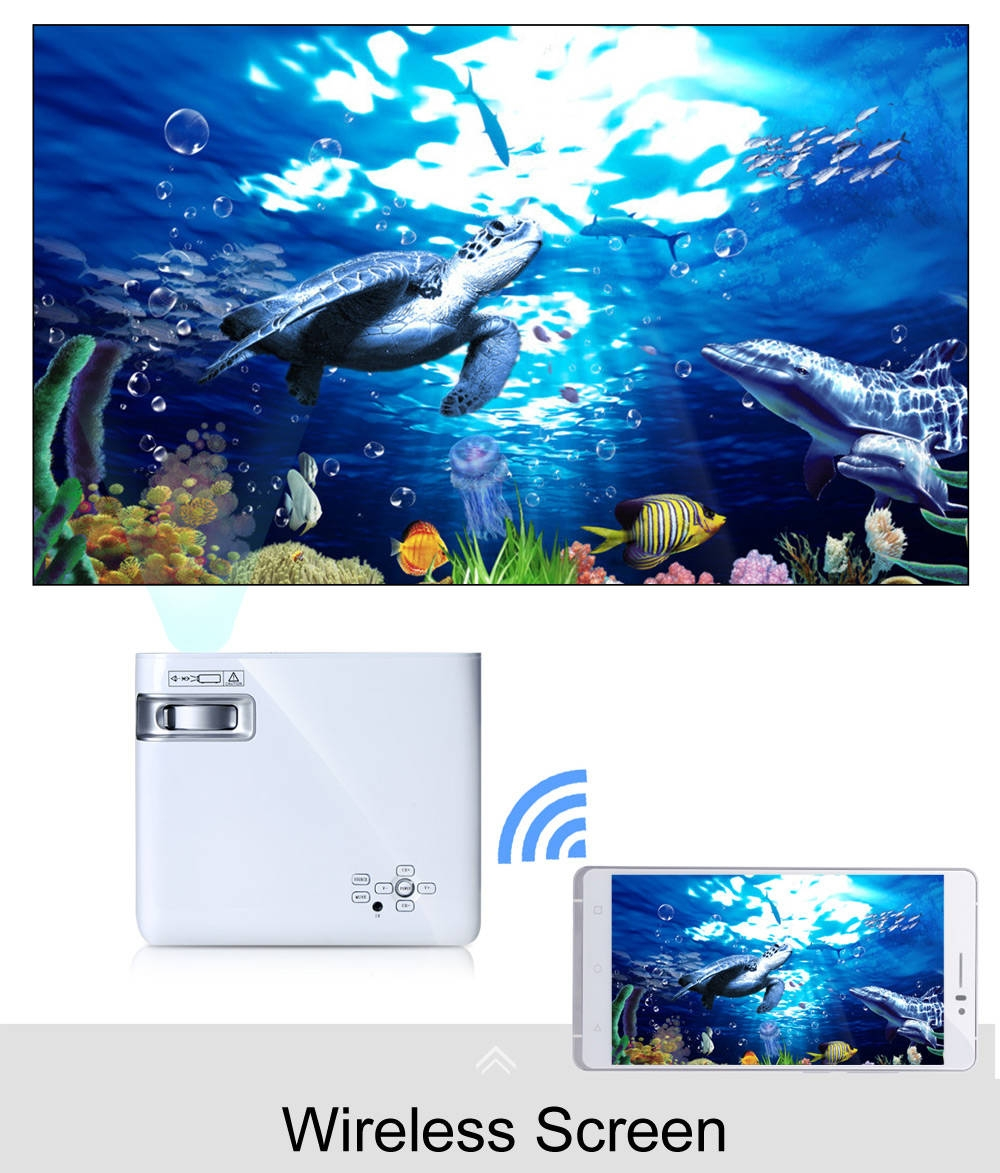 UhAPPy U20 LCD Projector 1GB + 8GB 2600Lm 800 x 480 Pixels 3D Android 4.4 Amlogic S805 Quad-Core 2.4G WiFi Connectivity