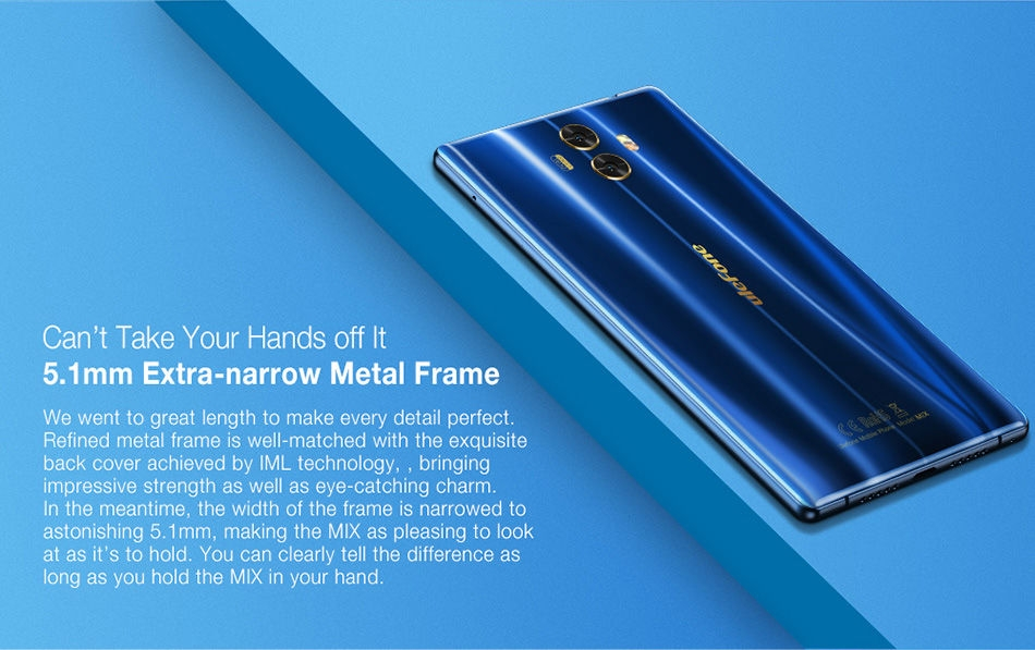 [HK Stock]Ulefone MIX 5.5 Inch Smartphone 4GB 64GB Dual Rear camera MT6750T Octa Core Android 7.0 Touch ID - Blue
