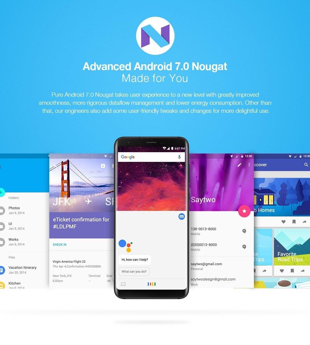 Ulefone Mix 2 4G Phablet Android 7.0 5.7 inch MTK6737 Quad Core 1.3GHz 2GB RAM 16GB ROM Full Screen Fingerprint Scanner OTG Function - Blue