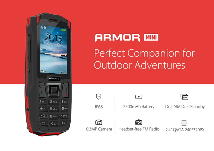 ULEFONE ARMOR MINI MTK6261D 2.4 Inch Screen IP68 Waterproof Dustproof Dropproof Dual SIM Mobile Bar Phone with Camera FM Bluetooth