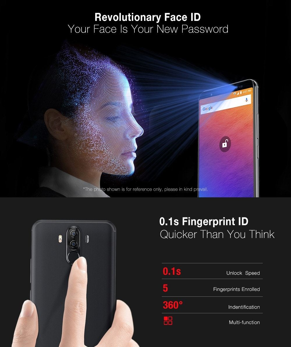 Ulefone Power 3S 4G Phablet Android 7.1 6.0 inch MTK6763 Octa Core 2.0GHz 4GB RAM 64GB ROM Quad Cameras Type-C Corning Gorilla Glass 4 Screen Face ID- Black