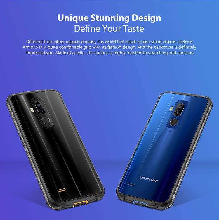 ULEFONE ARMOR 5 4GB RAM 64GB ROM MTK6763 2.0GHz Octa Core 5.85 Inch Corning Gorilla Glass 4 HD+ Full Screen Dual Camera IP68 Waterproof Android 8.1 4G LTE Smartphone