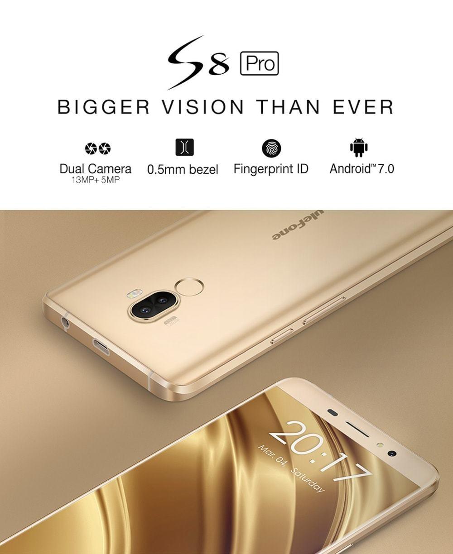 Ulefone S8 Pro 4G Smartphone 5.3 inch Android 7.0 MTK6737 Quad Core 1.3GHz 2GB RAM 16GB 13.0MP + 5.0MP Dual Rear Cameras Fingerprint Touch Sensor- Black