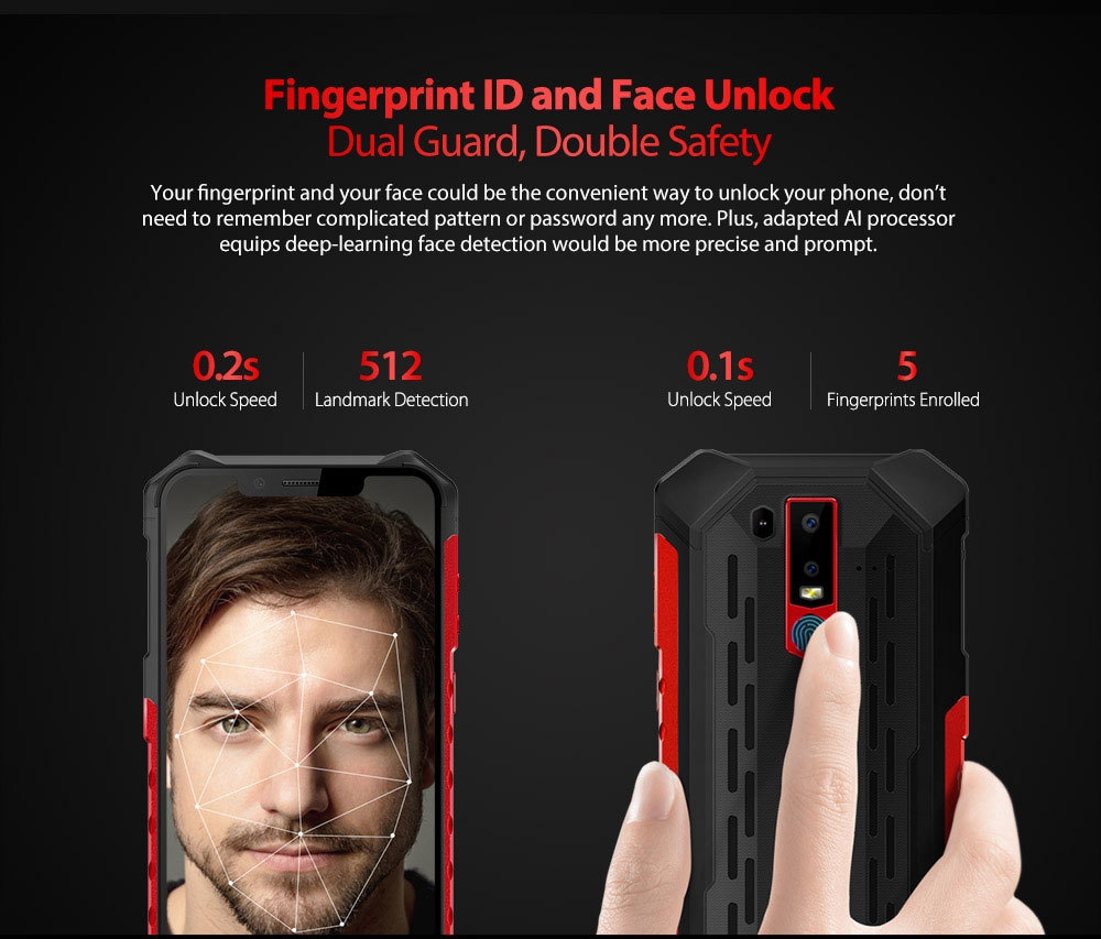 Ulefone Armor 6 4G Phablet 6.2 inch Android 8.1 OS Helio P60 ( MT6771 ) Octa-core 2.0GHz 6GB RAM 128GB ROM 8.0MP Front Camera Fingerprint Sensor Corning Gorilla Glass 5 5000mAh Built-in IP68