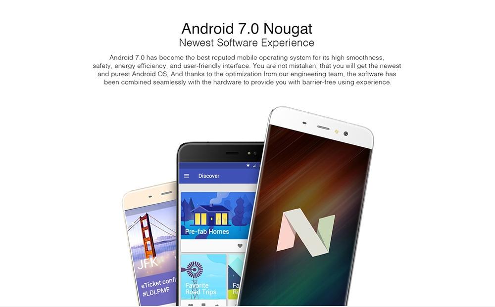 Ulefone S8 5.3 inch 3G Smartphone Android 7.0 MTK6580 Quad Core 1.3GHz 1GB RAM 8GB ROM 2.5D Screen Dual Rear Cameras Fingerprint Scanner