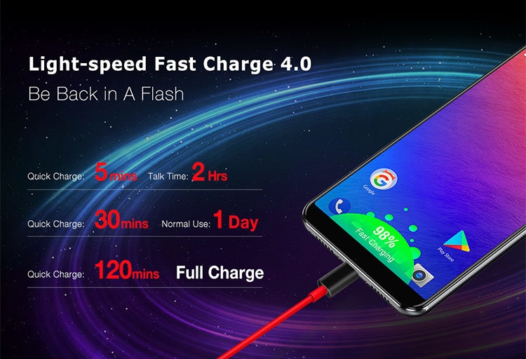 ULEFONE POWER 3 6GB RAM 64GB ROM Helio P23 MTK6763 2.0GHz Octa Core 6.0 Inch Incell Corning Gorilla Glass 4 FHD+ Full Screen Quad Camera Android 7.1 6080mAh 4G LTE Smartphone