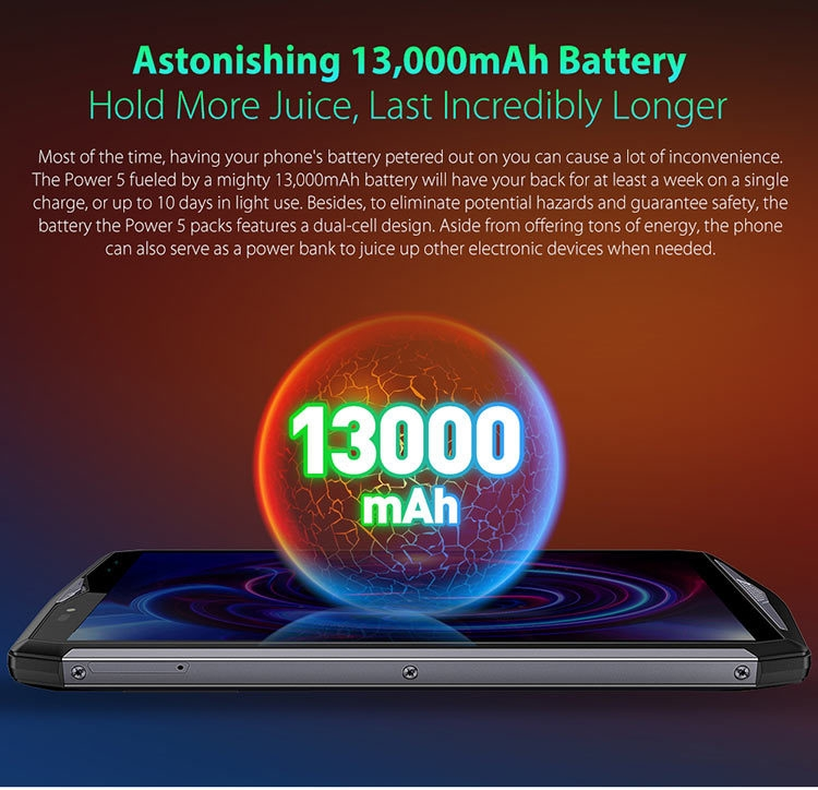 ULEFONE POWER 5 13000mAh 6GB RAM 64GB ROM Helio P23 MTK6763 2.0GHz Octa Core 6.0 Inch Incell Corning Gorilla Glass 4 FHD+ Full Screen Quad Camera Android 8.1 4G LTE Smartphone