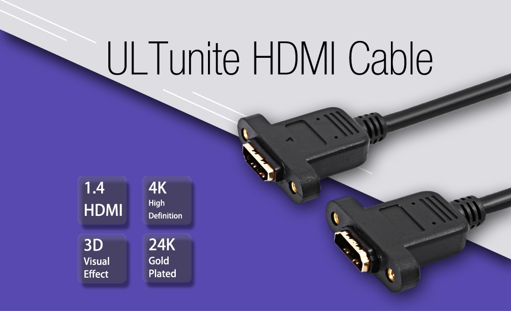 ULTunite 0.3m HDMI 1.4 Converter Adapter Extension Cable Support 3D 4K