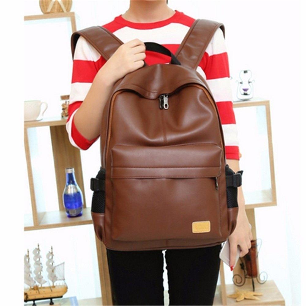 fa163a5490d3 UNIVERSAL Fashion Men Women Leather Backpack Rucksack School Bookbag ...