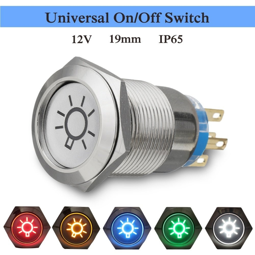 Buy UNIVERSAL Details About 19mm Dome Light Switch BLUE LED Push ...